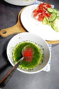 Zubereitung des schnellen Gyros-Teller (vegan)