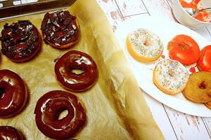 Zubereitung bunter Donuts (vegan)