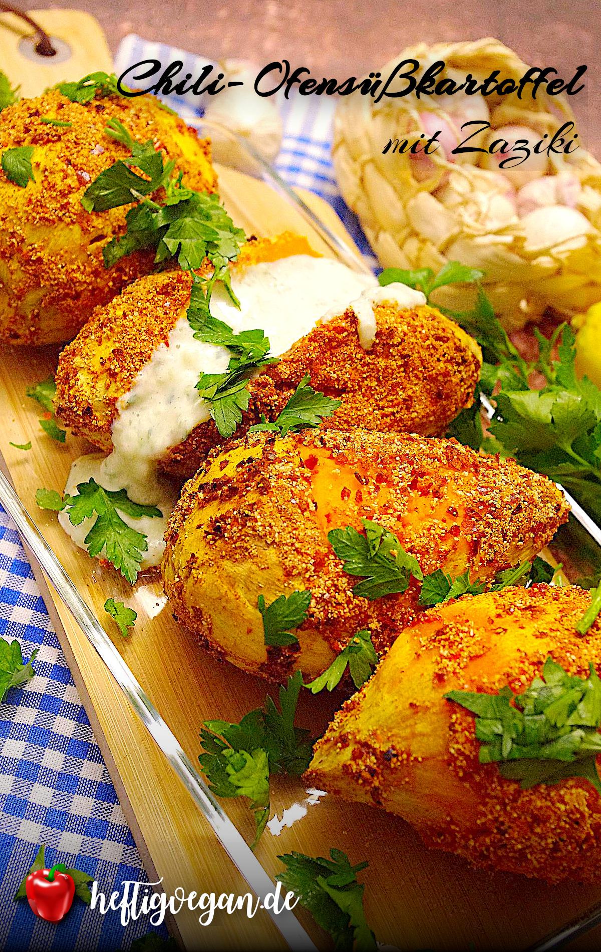 Chili-Ofensüßkartoffeln mit Zaziki auf Pinterest