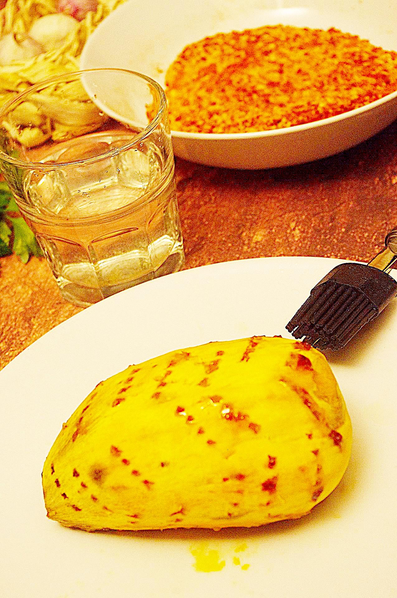 Zubereitung von Chili-Ofensüßkartoffeln mit Zaziki