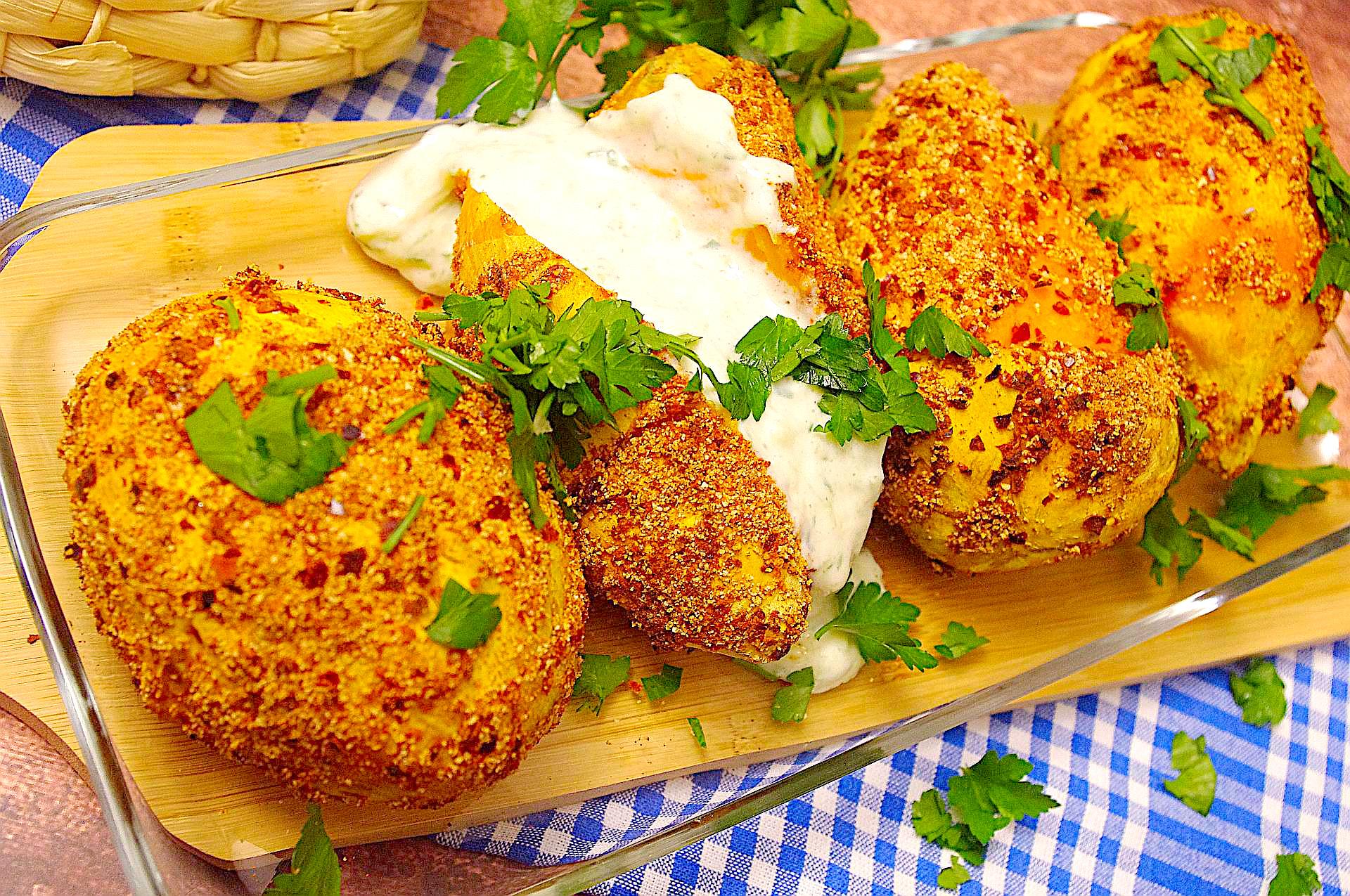 Chili-Ofensüßkartoffeln mit Zaziki
