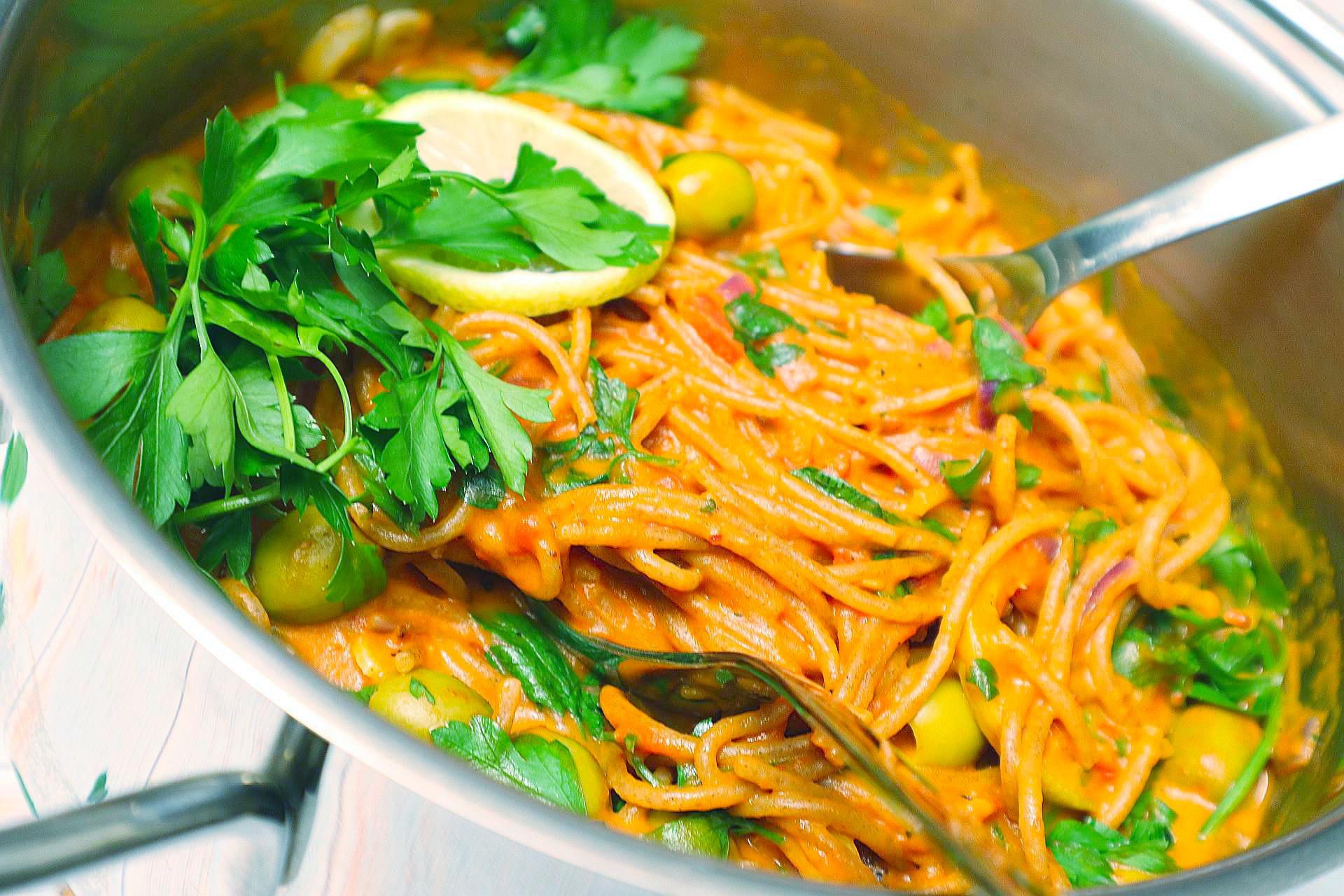 Cremige One-Pot-Spaghetti, One-Pot-Pasta Vegan