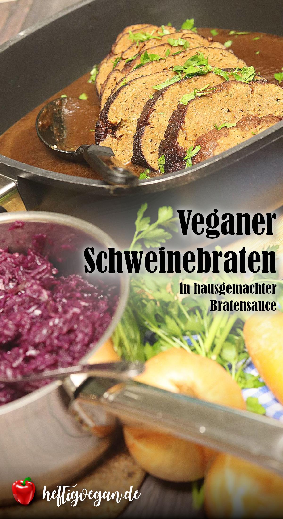 Veganer Schweinebraten aus Seitan, vegane Bratensauce ohne Fix, Pinterest