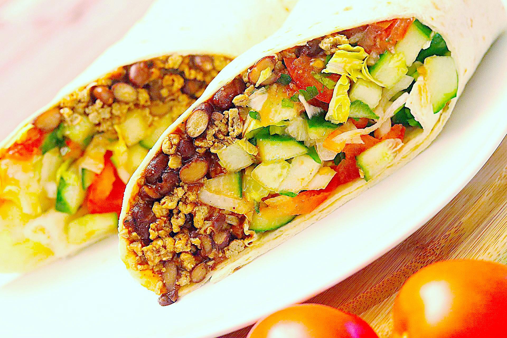 Vegane Frühstücks-Burritos, Naheaufnahme