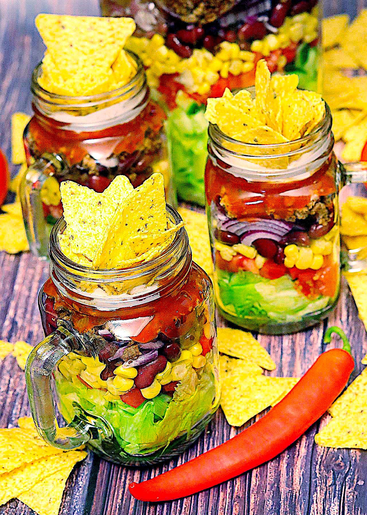Veganer Nacho-Salat im Glas