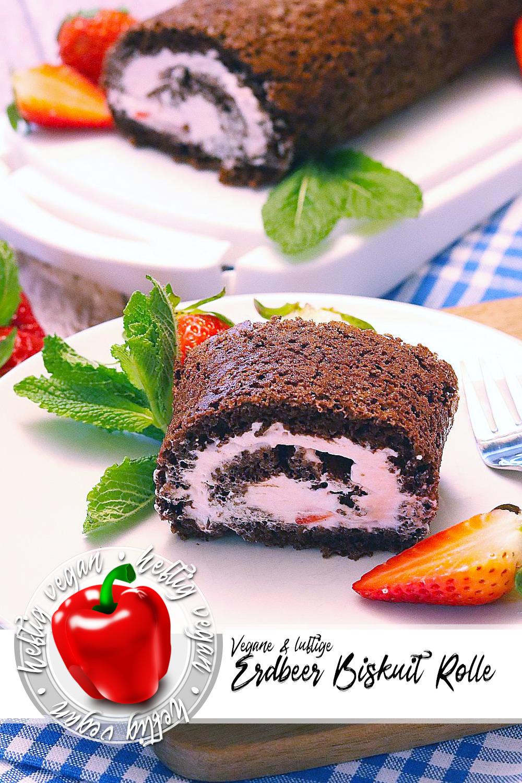 Luftige Erdbeer-Biskuit-Rolle auf Pinterest